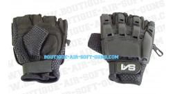 Mitaine gant noir avec coque plastique - M