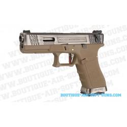 Réplique airsoft pistolet E18 series GBB Tan & Silver - cal 6mm bbs