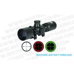 Lunette de tir Swiss arms 3-9x40 rouge et vert mildot - colliers 11mm