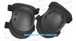 Set de protection 2 genouillères tactiques noires pour airsoft et paintball (petite coque)