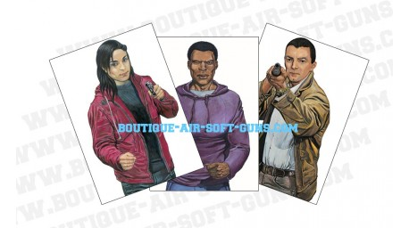 Trois cibles papier 'bandit aléatoire' - 89 x 64