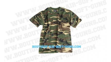T-shirt motif camouflage militaire vert - taille enfant