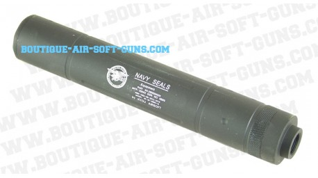 Silencieux navy Seals noir airsoft pour 14 mm