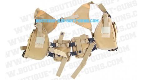 Holster d'épaule horizontal ambidextre avec 2 poches tan