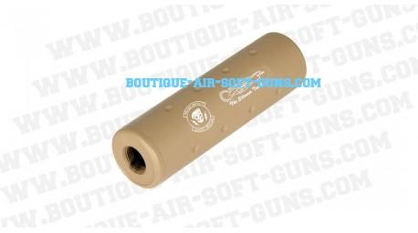 Silencieux M2 Ghost Recon tan pour airsoft - 110 mm diametre 30 mm