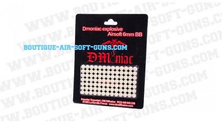 91 billes explosives 6mm pour arme airsoft, blanches Dmoniac