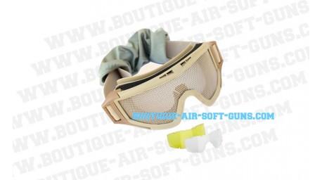 Lunette de protection Elite Force MG 200 avec grillage avec 2 verres de rechange et housse offerte