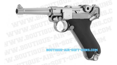 Pistolet airsoft WE P08 agrenté Gaz GBB - cal 6mm bbs