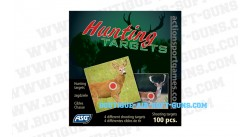 100 cibles hunting target 14x14cm 4 animaux
