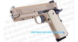 Pistolet airsoft GBB M1911 Desert warrior 4.3 TAN Tokyo Marui - 1 joule
