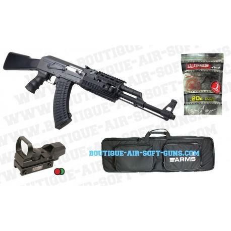 Pack Fusil d'assault Kalashnikov AK47 Tactical 6mm + housse + point rouge