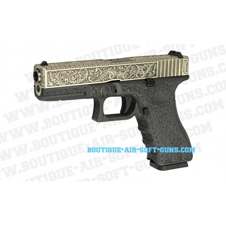 Réplique airsoft G17 series WE finition motif Floral culasse bronzée