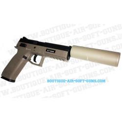 Pistolet airsoft GBB CZ P09 FDE avec silencieux - 0.7 joule