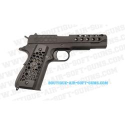 Réplique WE airsoft pistolet 1911 custom GBB Hex cut noir 0.9J