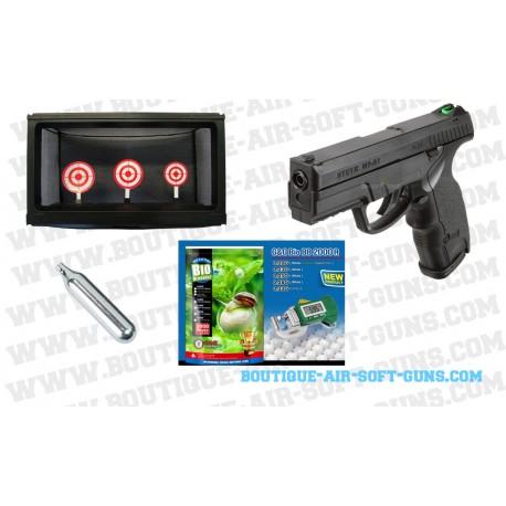 Pack Fun tir Steyr M9 A1 Softair 6 mm avec 2000 billes, 10 CO2 et cible
