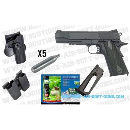 Pack Pistolet Colt 1911 Rail Gun CO2 noir full metal 1.1J 6mm