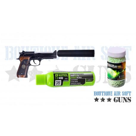 Pack Halloween Beretta M92 Samouraï Edge Stars silencieux et billes traçantes