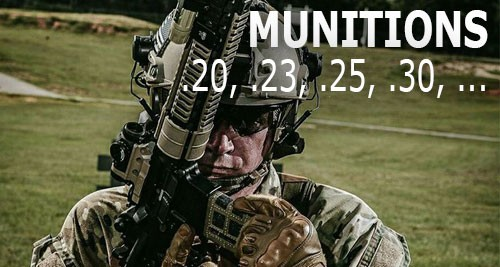 Munitions airsoft 0.20, 0.25, 0.30, ...